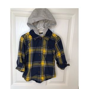 Carters 2T Hooded Button Down Long Sleeve Shirt